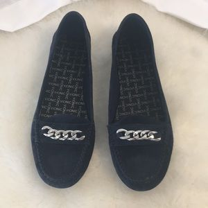 Vionic Mesa Navy Suede Driving Loafers Size 10